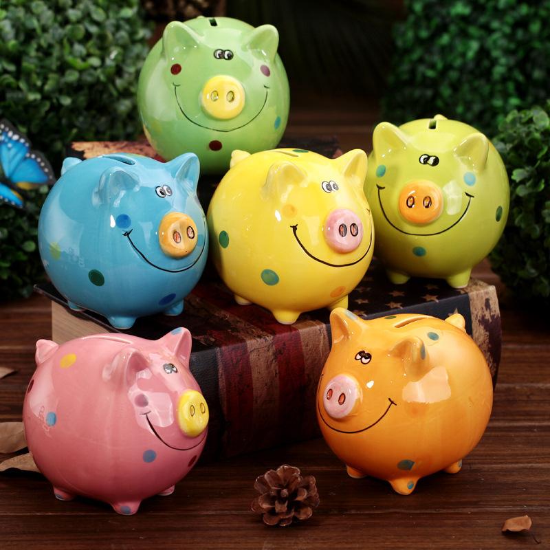 V 211042 màu gốm cười lợn heo thay đổi ngân hàng cốc con trang trí máy tính để bàn trang trí heo đất