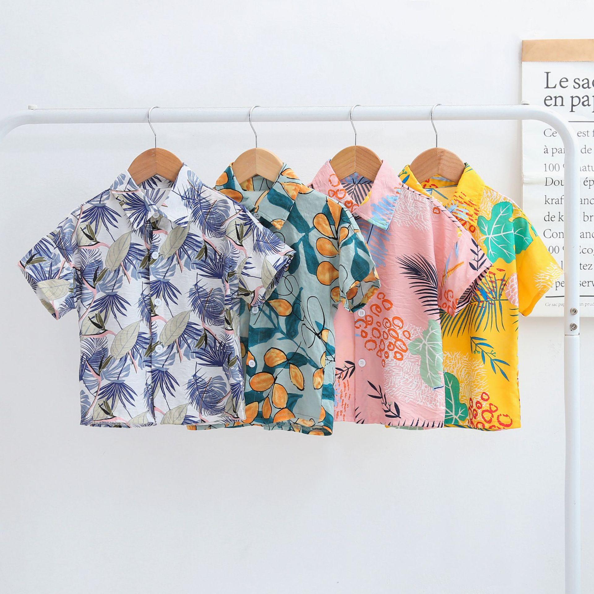Áo Sơ-mi trẻ em Mùa hè 2019 áo trẻ em mới trong áo trẻ em Hàn Quốc nam kho báu áo sơ mi ngắn tay hoa
