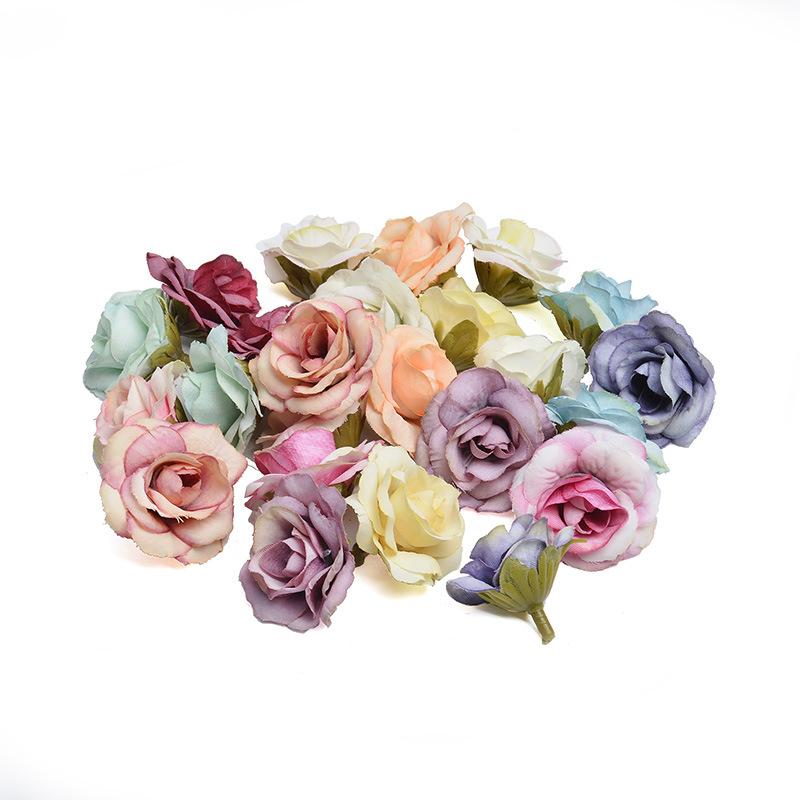 YAJIA Trang trí lễ cưới Hoa hồng đầu đám cưới mô phỏng hoa giả hoa 绢 vải tự làm nền trang trí cửa sổ