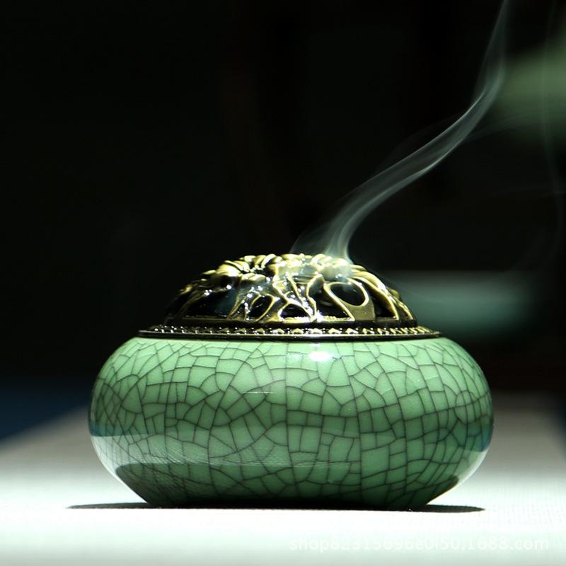Lư hương Đốt nhang , đốt trầm hương nắp bằng đồng .