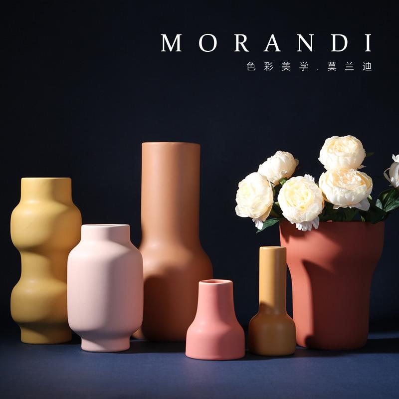 KELIDA Bình bông Bình gốm sang trọng nhẹ Morandi thiết kế đồ trang trí phòng khách nhà mẫu phòng mềm