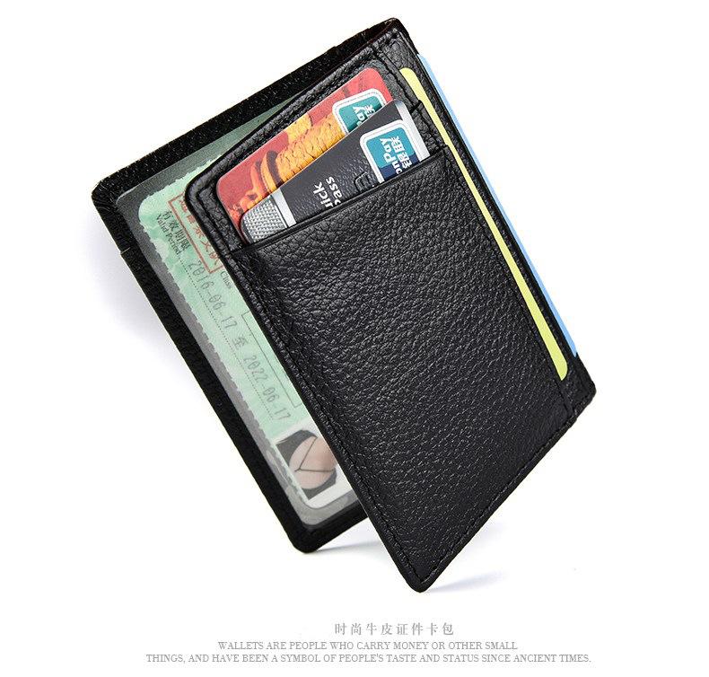 BILIFU Ví đựng thẻ Nhà sản xuất mô hình vụ nổ xuyên biên giới gói thẻ da lớp da bò siêu mỏng bộ thẻ