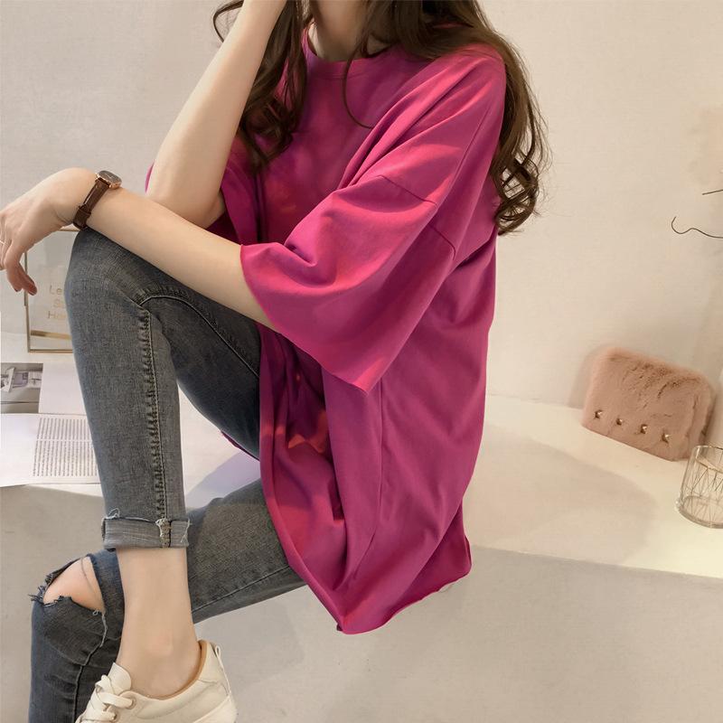 Thời trang nữ Mùa hè 2019 mới áo thun màu kẹo nữ nữ ngắn tay buông xõa Hàn Quốc quần áo nửa tay nữ b
