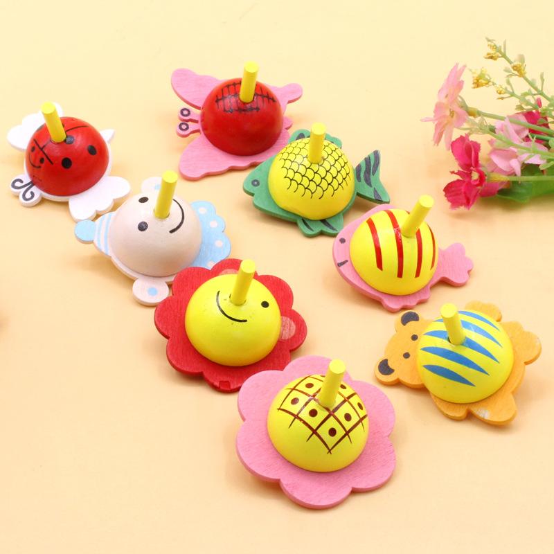 Bông vụ Gỗ màu trái cây con quay tay nhỏ quay con quay nhỏ truyền thống hoài cổ trẻ em câu đố bằng g
