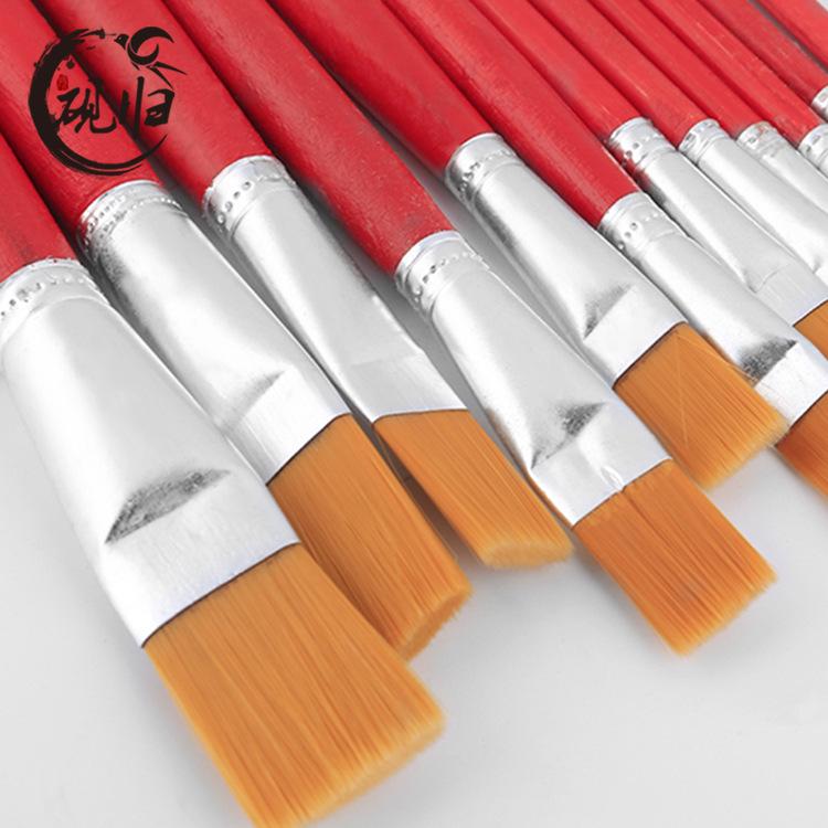 YEGUI Đồ mỹ nghệ Bàn chải bán buôn que màu đỏ nylon bàn chải tóc học sinh trẻ em cung cấp sơn acryli