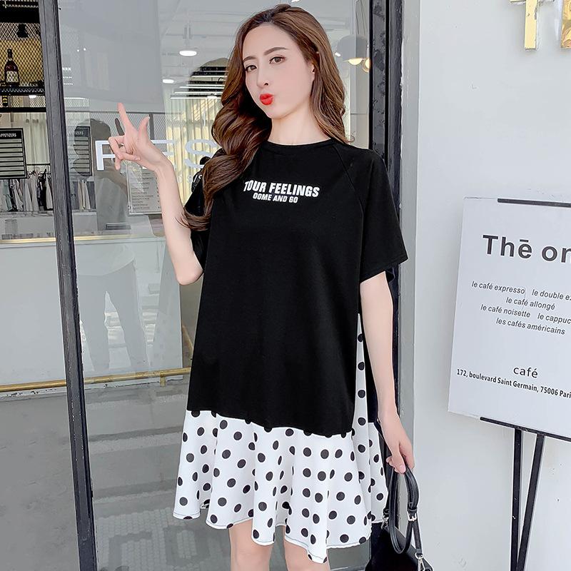 Trang phục bầu Real shot 2019 hè mới thời trang Han Fan đầm bà bầu lỏng voan khâu giản dị hoang dã h