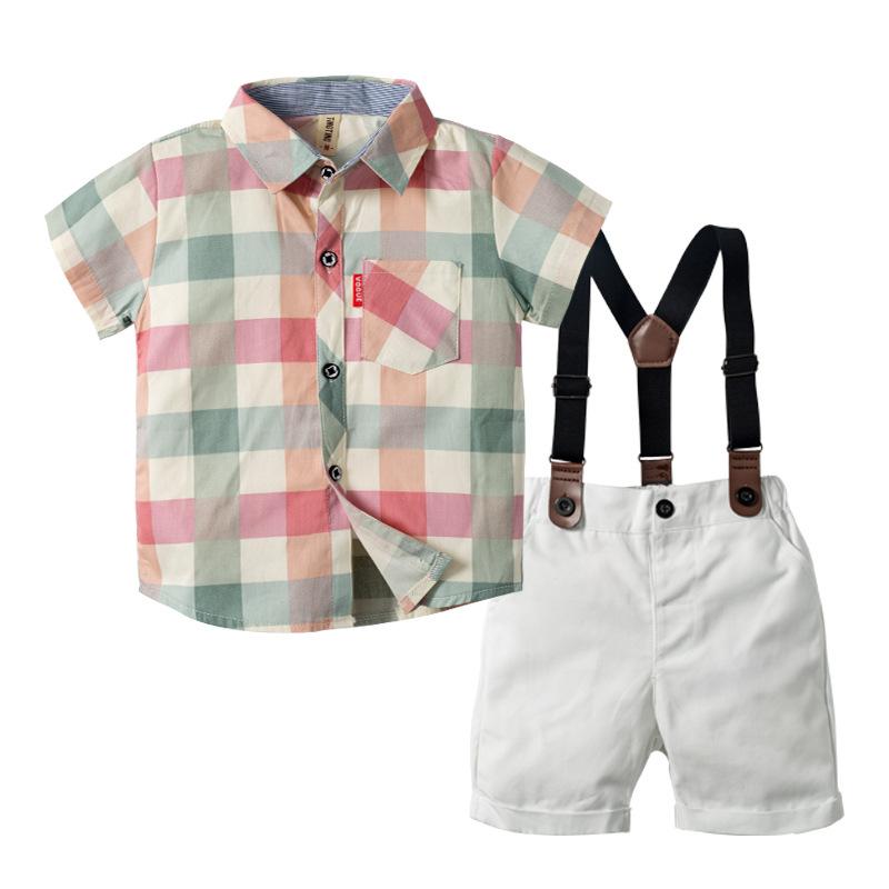 Áo Sơ-mi trẻ em Mùa hè mới bé trai châu Âu và Mỹ bé trai kẻ sọc ngắn tay áo sơ mi hai dây