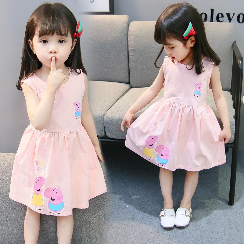 YINGMIAO Đầm váy trẻ em Cô bé hoạt hình bé gái công chúa váy mùa hè cotton màu in áo vest không tay