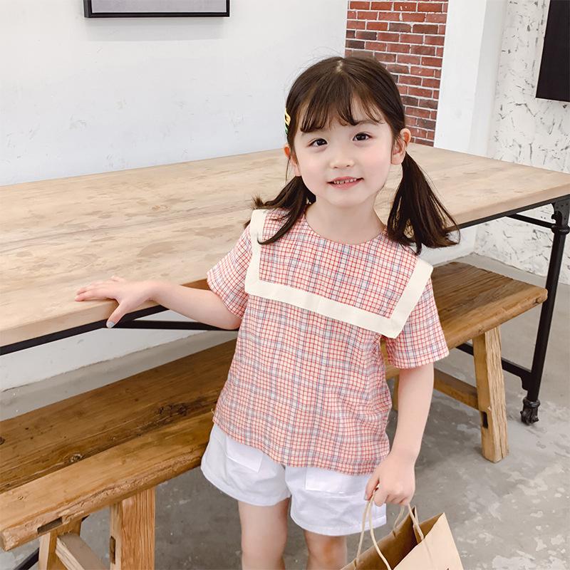 Phong cách Hàn Quốc Áo sơ mi nữ kẻ sọc 2019 Mùa hè Mới Áo sơ mi ngắn tay búp bê Áo trẻ em mùa hè Hàn