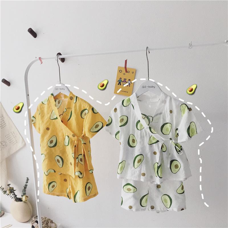 HHBE Đồ ngủ trẻ em Quần áo trẻ em mới 2019 hè nam và nữ buộc cà vạt dịch vụ tại nhà phù hợp với đồ n