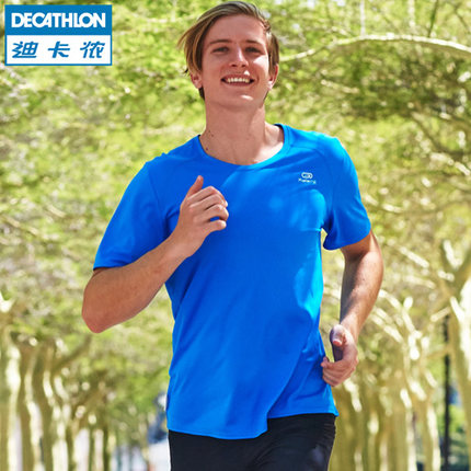 Áo thun Decathlon thể thao Áo thun nam mùa hè nhanh khô thể dục tay ngắn kích thước lớn đào tạo bóng