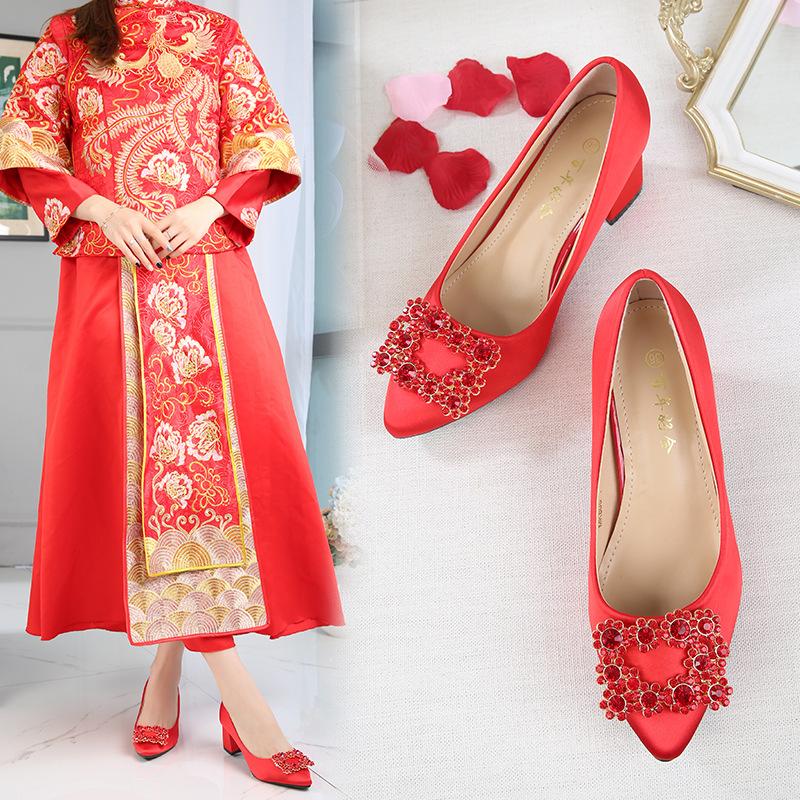 QIAOYINYUAN Giày cô dâu Giày cưới Trung Quốc đính kim cương đỏ dày có gót nhọn để khoe giày cưới Già