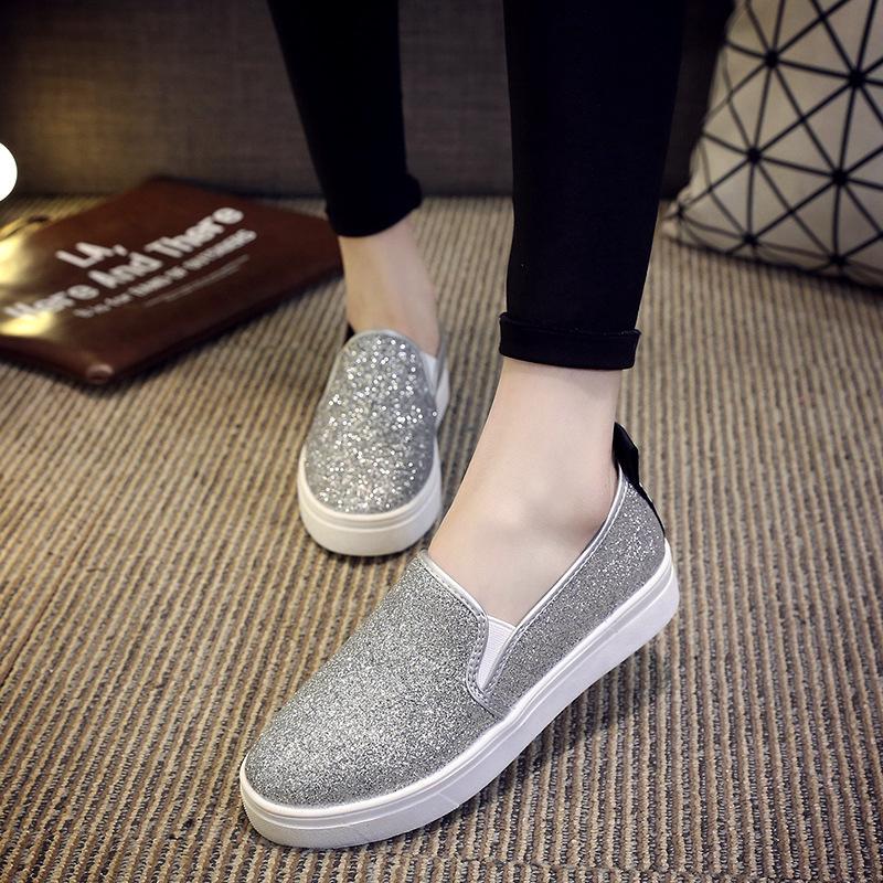 Giày Loafer / giày lười Mùa xuân và mùa thu 2017 mới dày đáy giày Lok Fu nữ thấp để giúp giày nữ seq