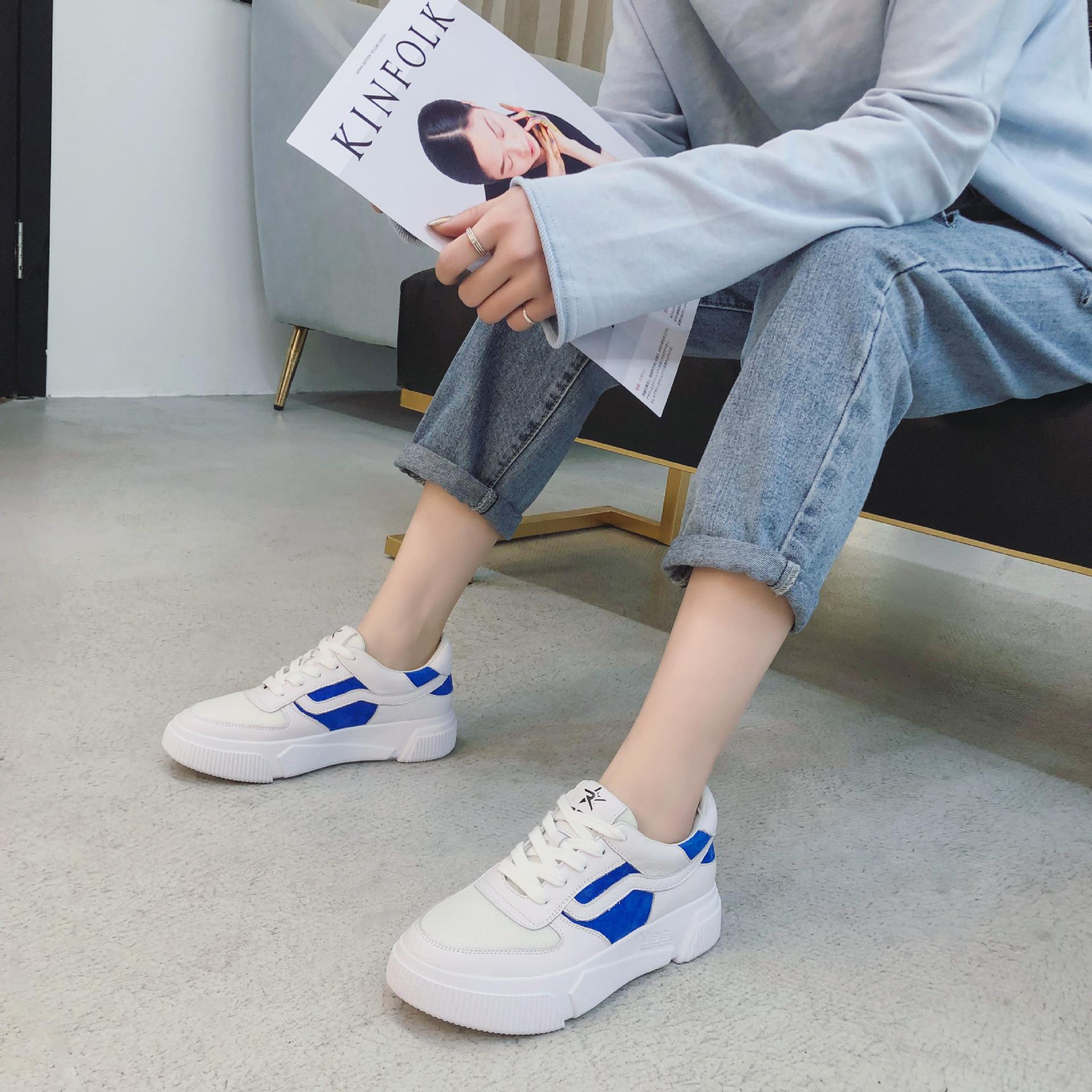 LUMANNI Giày trắng nữ Giày trắng Lumani nữ mùa xuân phiên bản Hàn Quốc của giày thể thao hoang dã đế