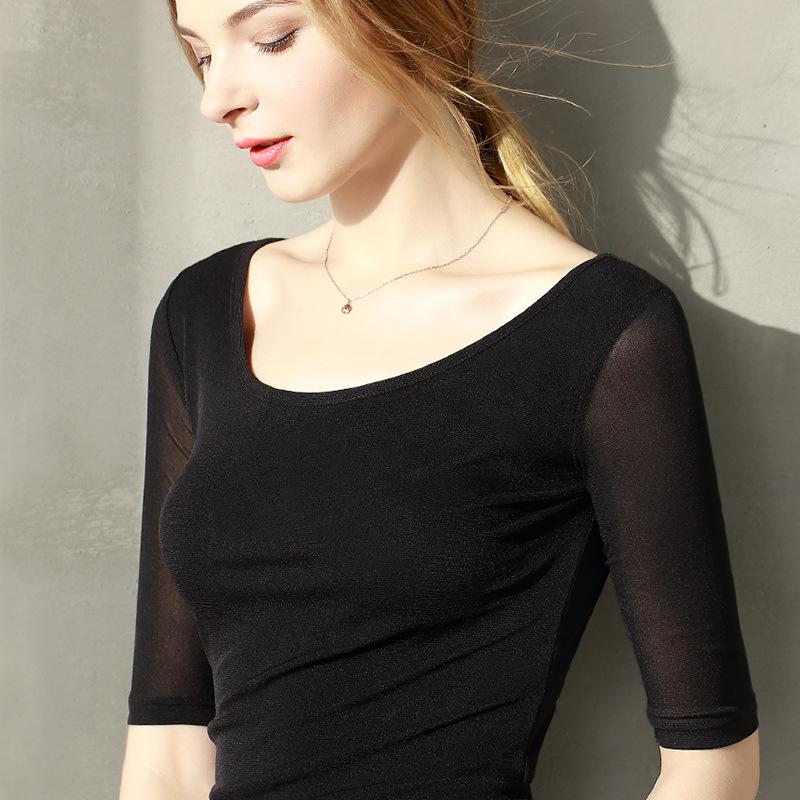 DANYU Thời trang nữ Áo sơ mi nữ châu Âu và áo thun 5 điểm tay áo nữ 2019 hè mới màu nền rắn liền vòn