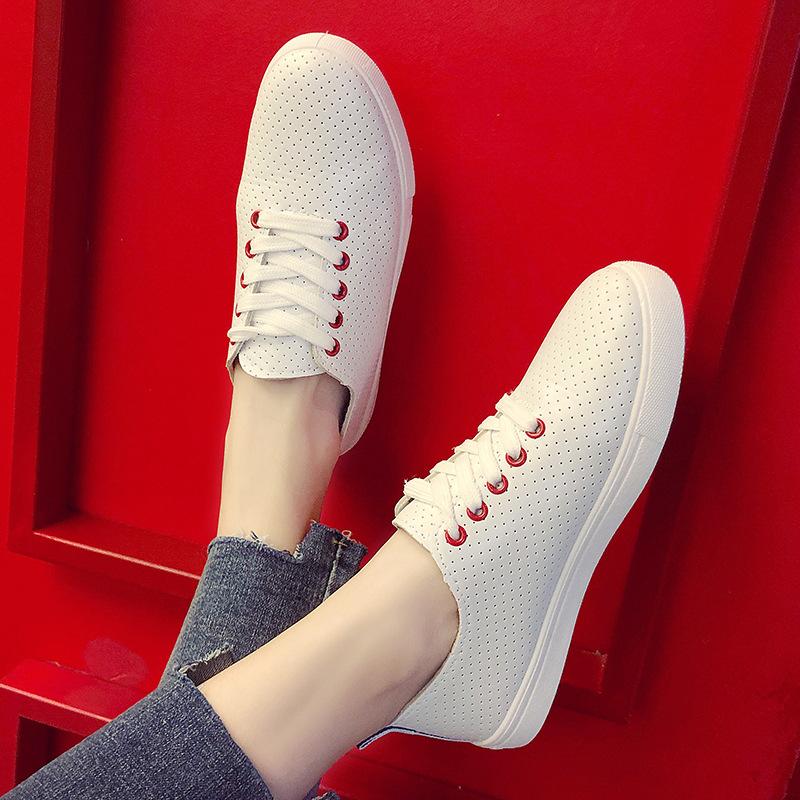 Giày trắng nữ Thế hệ tìm thấy hàng giày trắng nữ mùa hè thoáng khí 2019Wish mẫu ngoại thương nổ đơn