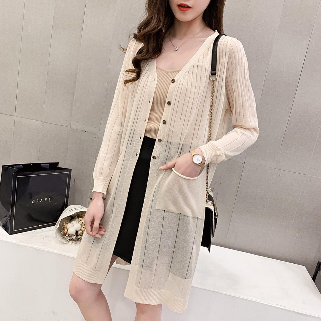 Áo khoác Cardigan Áo len dệt kim của phụ nữ dài mỏng băng lụa bao phủ mùa hè Áo chống nắng bên ngoài