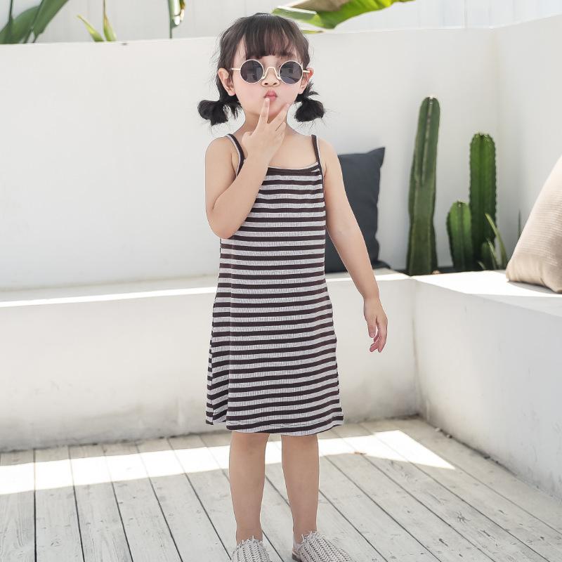 Đầm váy trẻ em Váy bé gái 2019 hè mới vừa và nhỏ cho bé váy yếm mùa hè bé gái đáy áo sơ mi sọc