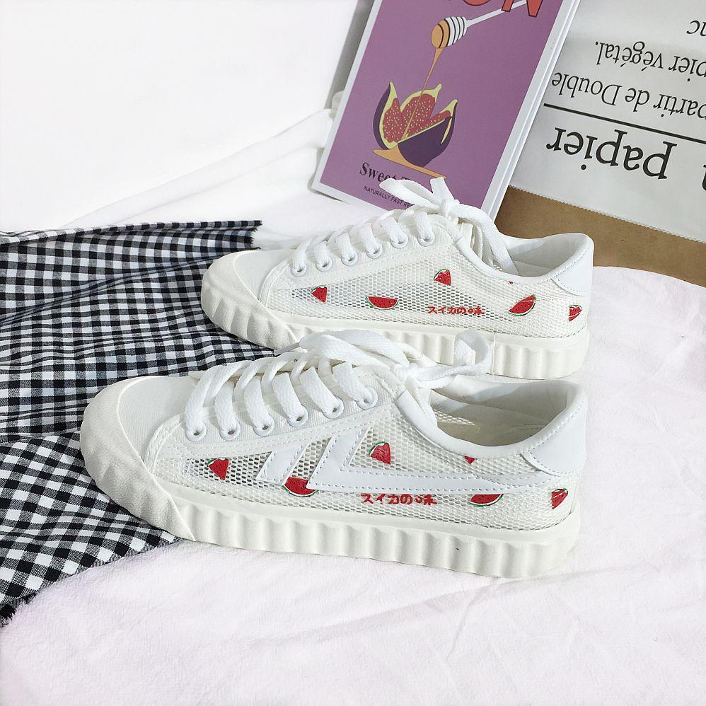 YUANBO Giày trắng nữ Làn sóng xa 2076 giày đế rỗng nữ ulzzang giày trắng hoang dã phổ biến trái cây