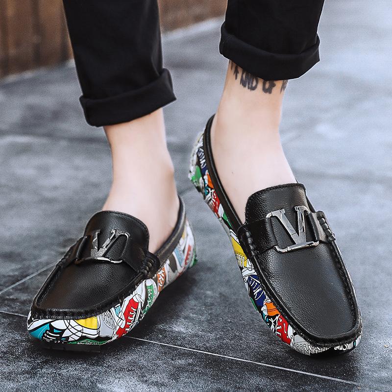 Giày mọi Gommino Giày da mềm hip hop da đậu Hà Lan thời trang cá tính cá tính Anh gió lớp da giản dị