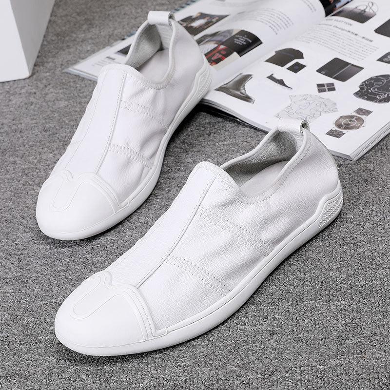 CHOJUNG Giày Loafer / giày lười Giày da nam Fu Fu da mềm đế dưới một chân giày nam màu trắng giản dị