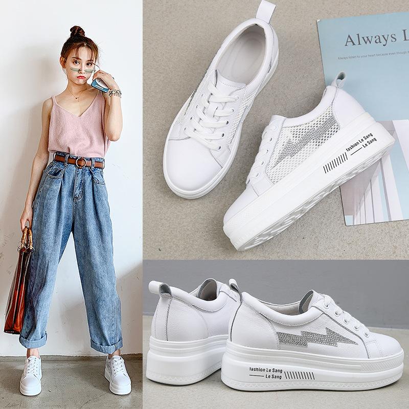 DAFEIOU Giày bánh mì Muffin giày trắng nhỏ nữ da 2019 mùa hè mới lớp da đầu tiên giày đế mềm đế dày