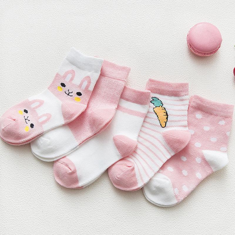 Vớ trẻ em Mùa xuân và mùa hè 2019 vớ trẻ em mới hoạt hình vớ cotton động vật vớ Hàn Quốc lưới thỏ th