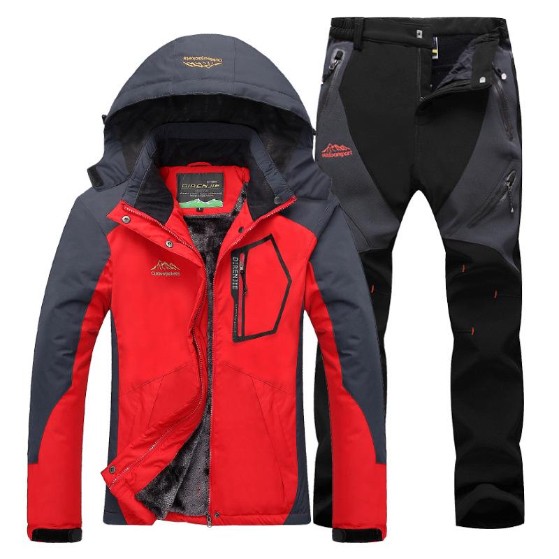 TANYANJI Quần áo leo núi Mùa thu và mùa đông ngoài trời cộng với nhung dày và quần phù hợp với bộ đồ