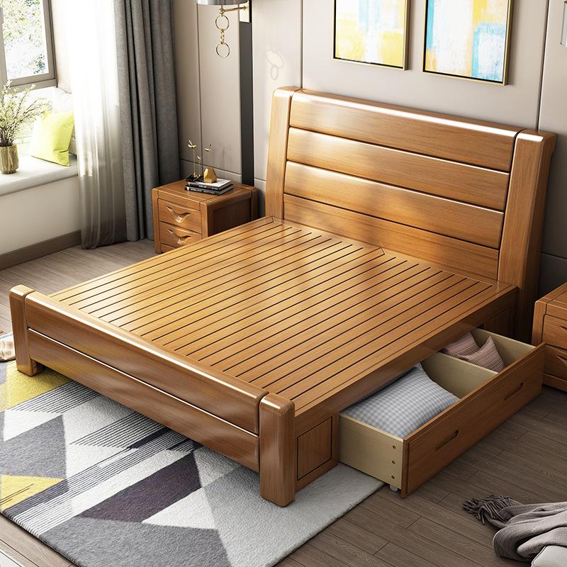 giường gỗ sồi nội thất trẻ em 1,2 đơn 1,5 công chúa 1,8 m giường cao