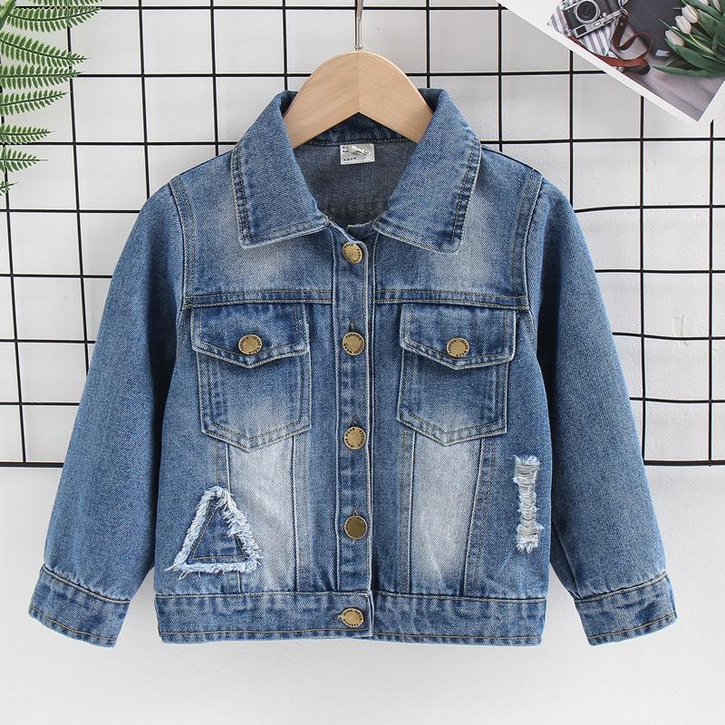 PDXZ Trang phục Jean trẻ em Xuân 2019 mới thời trang Hàn Quốc cho bé trai áo khoác denim trẻ em thườ