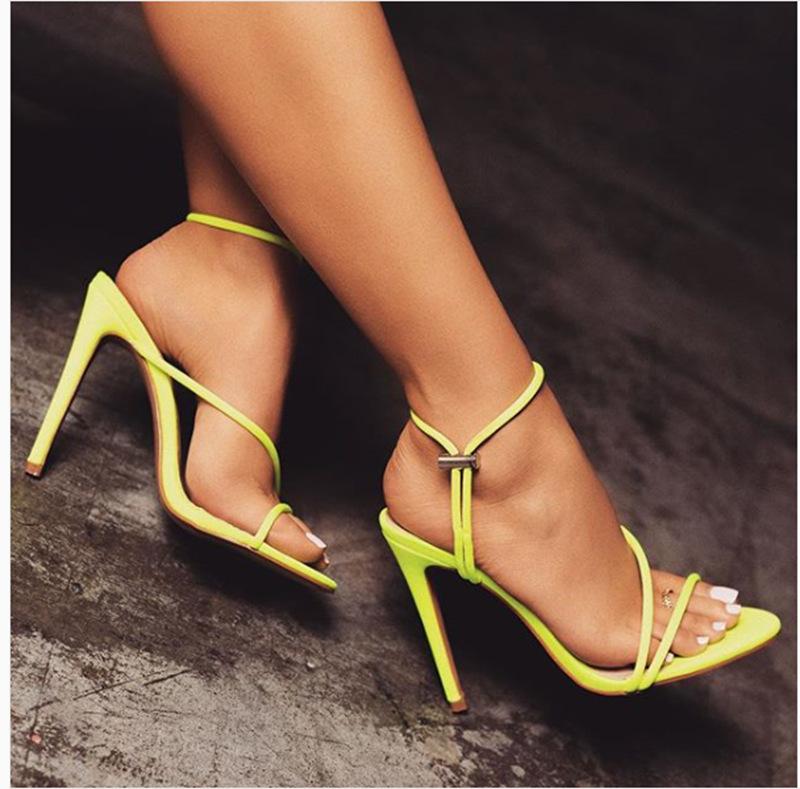 Giày nữ hàng Hot Châu Âu và Hoa Kỳ mới mùa hè màu huỳnh quang ngón chân cao gót nữ cao gót mong muốn