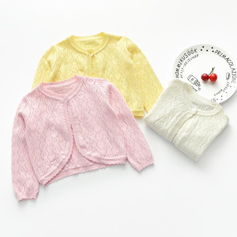 Áo dệt kim trẻ em Mùa hè 2019 mới hàng dệt kim ngoại thương châu Âu và Mỹ một nút openwork cardigan