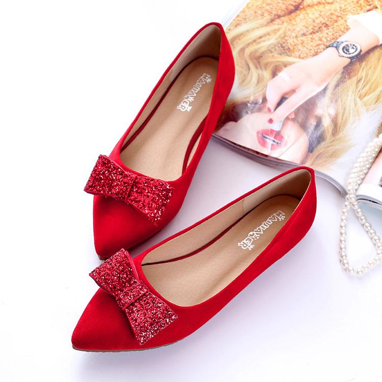 LANGHUAYU Giày cô dâu Một thế hệ tóc 2019 mùa xuân và mùa thu mới Giày cưới màu đỏ phẳng phiên bản H