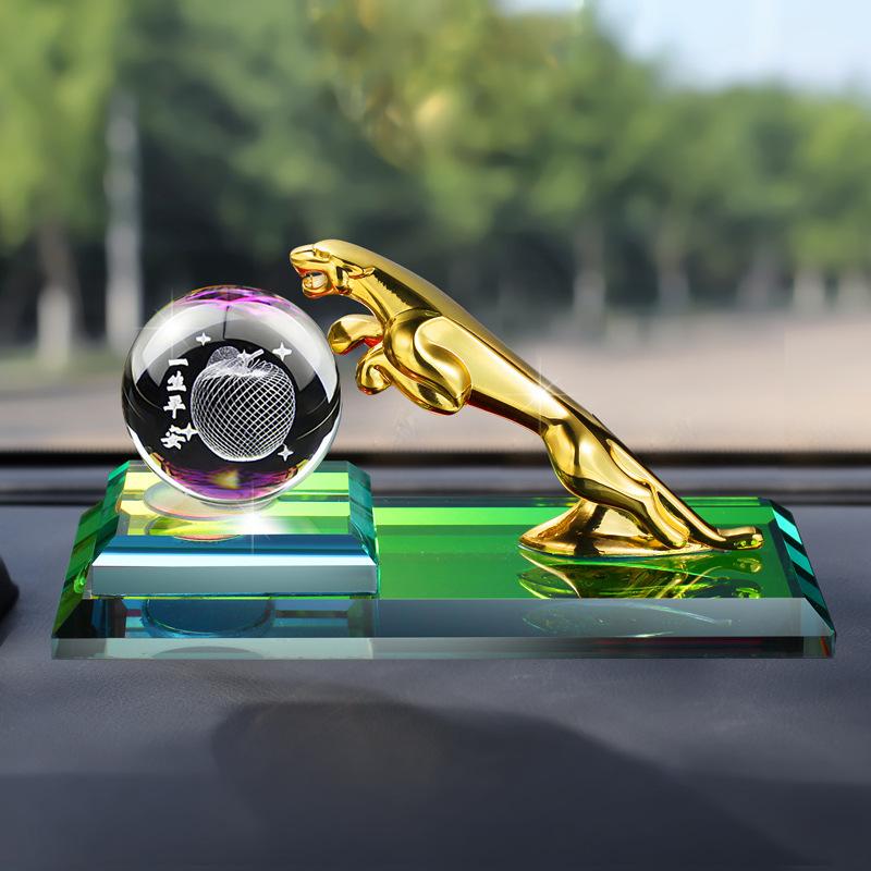 KUANGJIA Nước hoa xe hơi Creative Leopard xe pha lê bóng trang trí xe quà tặng xe tùy chỉnh xe nước