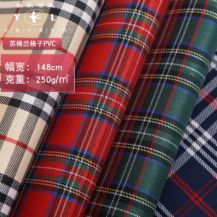 YONGLE Vải dệt may Nhà máy trực tiếp lưới Scotland PVC vải Oxford khăn trải bàn túi pet túi jacquard