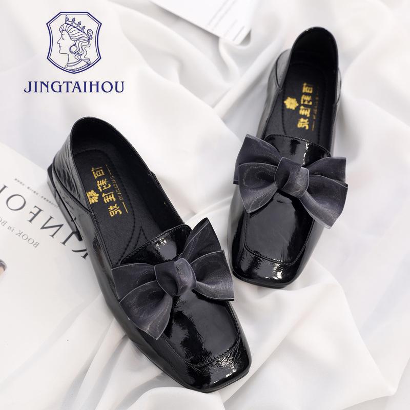 BLJN Giày Loafer / giày lười Giày nữ thời trang phẳng 2019 mới mùa hè đầu vuông thấp với phiên bản H