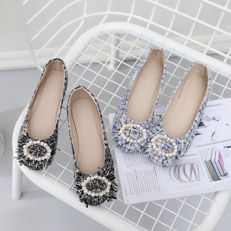 giày bệt nữ Sản phẩm mới Jinchen hoa lõi đa năng bằng phẳng đậu Hà Lan Giày nữ giày thêu vải giày Gi