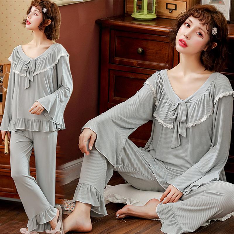 DYZP Trang phục trong tháng (sau sinh) Quần áo mùa xuân và hè modal 2019 cho bà bầu đồ ngủ mùa hè bà