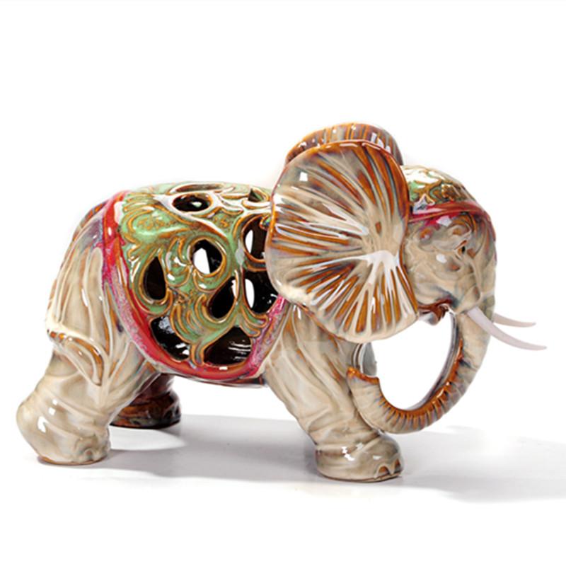 DONGYANG Đồ trang trí bằng gốm sứ Thủ công mỹ nghệ gốm rỗng Voi trang trí phòng học Phòng ngủ Trang