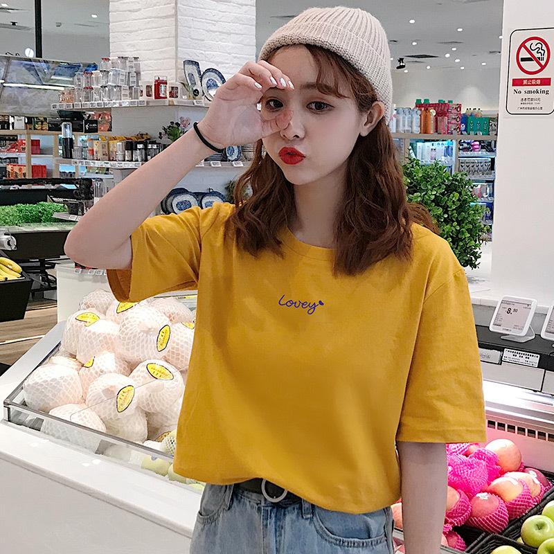 hàng trào lưu mới Bán buôn áo thun cotton nữ tay ngắn 2019 hè mới Áo nữ phiên bản Hàn Quốc áo sơ mi