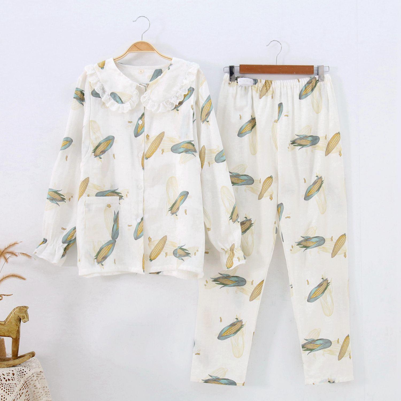 Trang phục trong tháng (sau sinh) Tháng quần áo mùa hè đôi gạc mới của mẹ bông mỏng cho con bú Quần