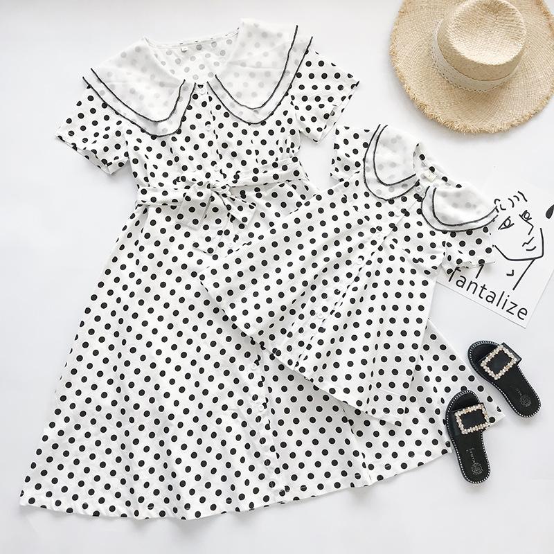 MENGDANGDANG Áo thun gia đình Một thế hệ váy đầm bố mẹ-con 19 váy ngoại mới khí mẹ váy sóng dài váy