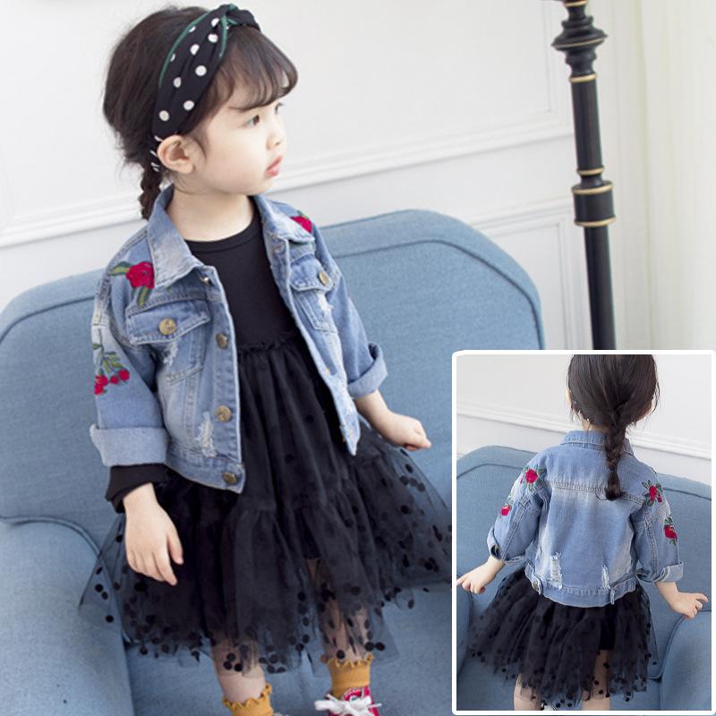 Trang phục Jean trẻ em Áo khoác nữ denim phiên bản Hàn Quốc 2018 xuân hè Quần áo trẻ em mới thêu hoa