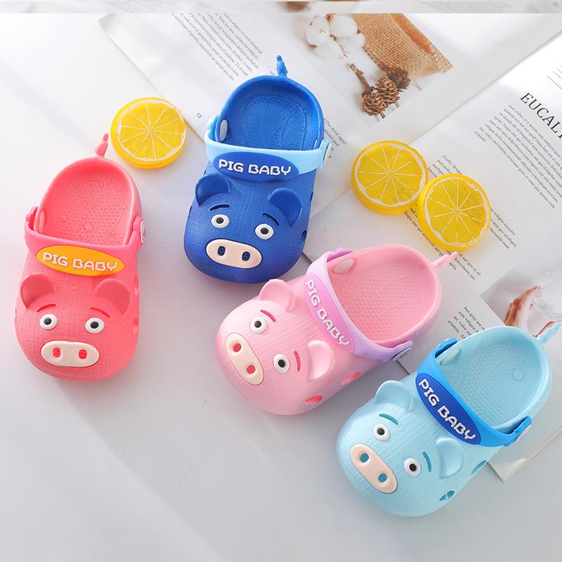 Lelepig dép trẻ em Xem phim hoạt hình dép và dép cho trẻ em lợn Piggy Lele mùa hè mới Dép và dép trẻ