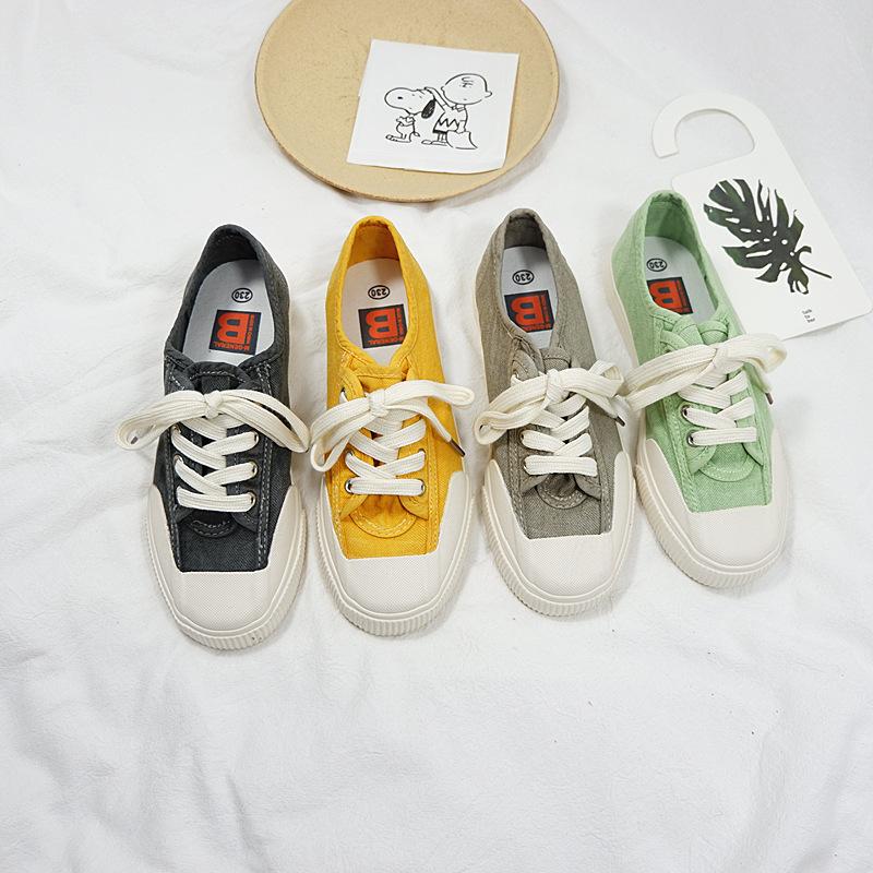 MINGJIANG giày bệt nữ Giày vải nữ nổi tiếng phiên bản Hàn Quốc của những học sinh hoang dã đã giặt g