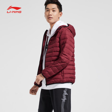 Lót nỉ Soflshell Li Ning short down jacket men's new fashion thick warm casual black hooded winter