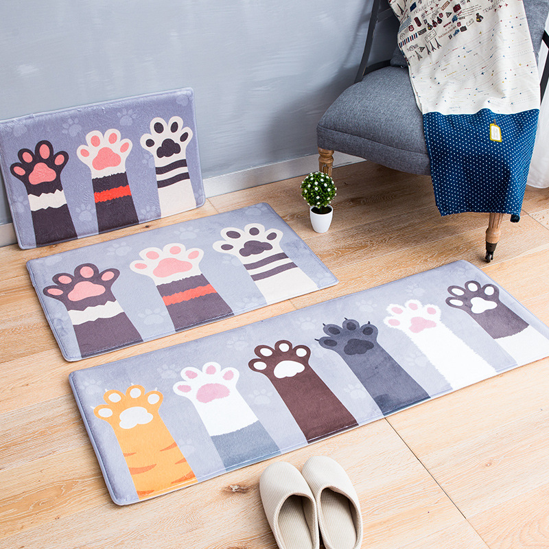 DEXI thị trường đệm lót đệm chân Phim hoạt hình flannel nhà sàn thảm Nhà dài phòng ngủ nhà bếp thảm