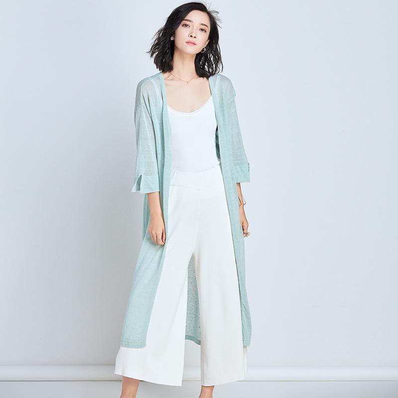 SHANDIEJI Áo khoác Cardigan Áo sơ mi và bướm mùa hè 2018 áo len mỏng của phụ nữ áo len dài phần rộng