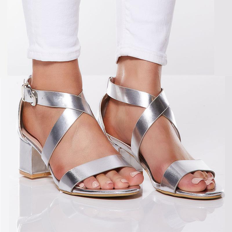 JOMEI Thị trường giày nữ Giày cao gót mới thời trang quai ngang quai dày với giày cỡ lớn cho nữ mùa