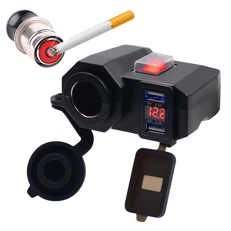 WUPP Phụ tùng xe máy ô tô Xe máy điện thoại di động sạc vôn kế chỗ ngồi thuốc lá không thấm nước + U
